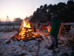 Lagerfeuer im Winter Langendorf